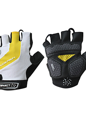 cheap Sports & Outdoors-SPAKCT Bike Gloves / Cycling Gloves Mountain Bike MTB Breathable Anti-Slip Sweat-wicking Protective Fingerless Gloves Half Finger Sports Gloves White+Yellow for Adults' Outdoor