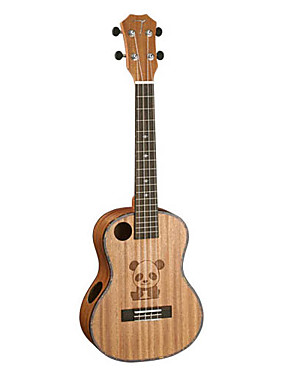 halpa Ukulelet-TOM - (TTY-260) Panda Sculpted Acoustic Sound Hole Mahogany Tenor Ukulele kanssa Bag