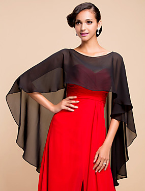 cheap Weddings & Events-Sleeveless Capelets Chiffon Wedding / Party Evening Wedding  Wraps With Draping / Solid