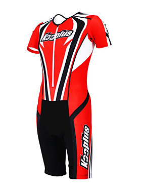 cheap Sports & Outdoors-Kooplus Men's Women's Short Sleeve Triathlon Tri Suit Polyester Blue Red Yellow Patchwork Bike Coverall Clothing Suit Breathable Quick Dry Sports Clothing Apparel