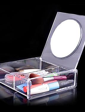 preiswerte Kosmetikspiegel-Make-up Utensilien Kosmetikaufbewahrung Kosmetikspiegel Bilden 1 pcs Acryl Quadratisch Alltag Kosmetikum Pflegezubehör