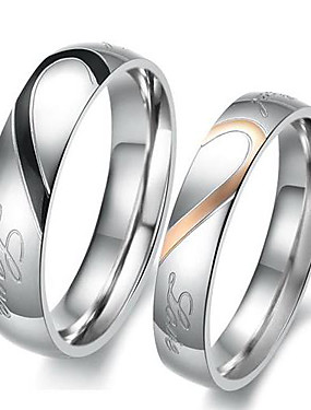 cheap Jewelry Deal-Men and Women Couple Rings Engagement Ring 2pcs Silver I Love You Titanium Steel Ladies Simple Bridal Wedding Party Jewelry Two tone Heart Love Friendship