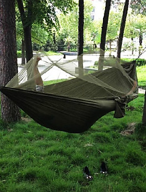 cheap Sports & Outdoors-Camping Hammock with Mosquito Net Double Hammock Outdoor Portable Breathable Quick Dry Anti-Mosquito Ultra Light (UL) Parachute Nylon with Carabiners and Tree Straps for 2 person Hunting Fishing