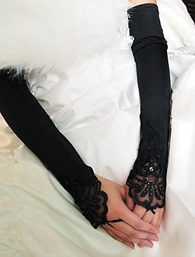 cheap Party Gloves-Elastic Satin / Cotton Wrist Length / Opera Length Glove Charm / Stylish / Bridal Gloves With Embroidery / Solid