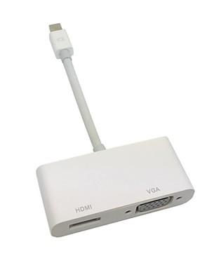 preiswerte DisplayPort Kabel & Adapter-Mini Displayport auf-VGA-Thunderbolt& HDMI-Adapterkabel 2 in1 für Apple MacBook& Luft& Profi& imac