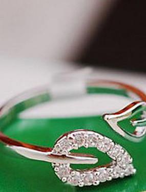 billige Fashion Rings-Dame Band Ring tommelfingerring Kubisk Zirkonium liten diamant 1pc Gull Sølv Kubisk Zirkonium Legering damer Uvanlig Unikt design Bryllup Fest Smykker Blad Formet Hjerte Billig