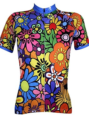cheap Sports & Outdoors-21Grams Women's Short Sleeve Cycling Jersey Polyester Blue+Green Purple Blue Floral Botanical Plus Size Bike Jersey Top Mountain Bike MTB Road Bike Cycling Breathable Quick Dry Ultraviolet Resistant