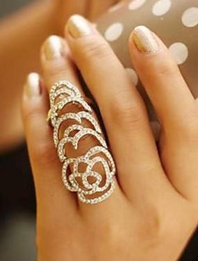 preiswerte LUREME®-Damen Statement-Ring Kristall Silber Golden Krystall Strass damas Ungewöhnlich Einzigartiges Design Hochzeit Party Schmuck Rosen Blume
