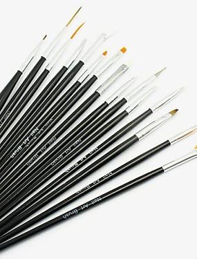 voordelige Nagelvijlen & Buffers-15pcs Synthetisch haar / Hout Nail Art Tool Nail acrylborstel Nagelborstels Voor Acrylkwast Ministijl Nagel kunst Manicure pedicure Eenvoudig