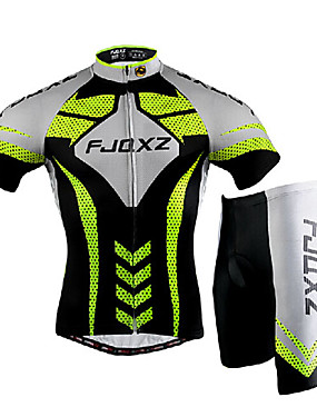 cheap Sports & Outdoors-FJQXZ Men's Short Sleeve Cycling Jersey with Shorts - Silver / Black Bike Clothing Suit, Windproof, Breathable, 3D Pad, Quick Dry, Ultraviolet Resistant Mesh Lines / Waves