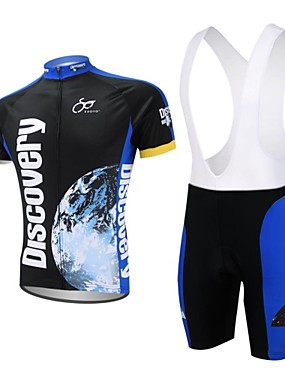 cheap Sports & Outdoors-XAOYO Men's Short Sleeve Cycling Jersey with Bib Shorts Polyester Dark Blue Bike Shorts Jersey Clothing Suit Quick Dry Back Pocket Sports Nature & Landscapes Clothing Apparel