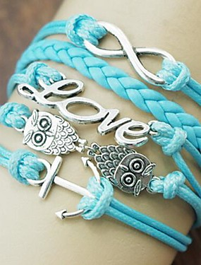 preiswerte ≤ 19.9€-Damen Wickelarmbänder Mehrlagig Eule Liebe Anker Europäisch Modisch Mehrlagig Aleación Armband Schmuck Blau Für Alltag Normal