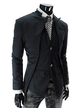 preiswerte Mode Schmuck-Formal / Arbeit Standard Blazer, Solide Langarm Baumwolle Weiß / Schwarz / Grau L / XL / XXL
