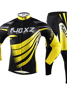 cheap Sports & Outdoors-FJQXZ Men's Long Sleeve Cycling Jersey with Tights Yellow Stripes Bike Jersey Tights Clothing Suit Breathable Quick Dry Ultraviolet Resistant Winter Sports Polyester Mesh Stripes Mountain Bike MTB