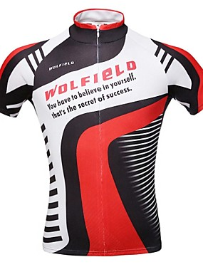 cheap Sports & Outdoors-WOLFBIKE Men's Short Sleeve Cycling Jersey Polyester Bike Jersey Top Mountain Bike MTB Road Bike Cycling Breathable Quick Dry Back Pocket Sports Clothing Apparel / Stretchy / Advanced / Advanced