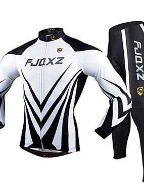 cheap Sports & Outdoors-FJQXZ Men's Long Sleeve Cycling Jersey with Tights Black / White Bike Clothing Suit Breathable 3D Pad Quick Dry Ultraviolet Resistant Winter Sports Polyester Mesh Curve Mountain Bike MTB Road Bike