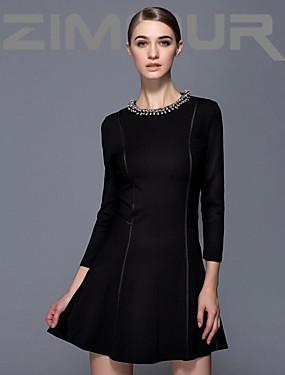 preiswerte Mode Schmuck-Damen Arbeit Kleid Solide Übers Knie