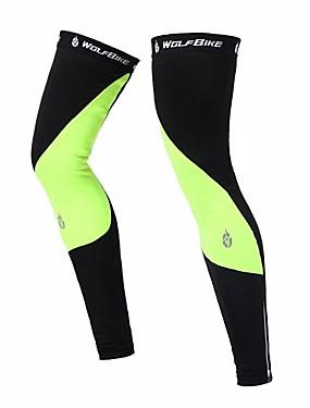 cheap Sports & Outdoors-1 Pair WOLFBIKE Leg Warmers / Knee Warmers Patchwork UPF 50 Thermal / Warm Lightweight Bike Black Green Fleece Polyester Spandex Winter for Men's Women's Adults' Road Bike Mountain Bike MTB Running