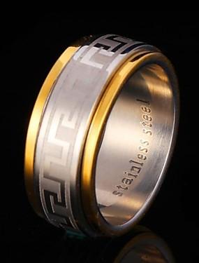 billige Fashion Rings-Dame Band Ring spinnring Groove Rings Kubisk Zirkonium Titan Rustfritt Stål Zirkonium Gullbelagt damer Dobbelt lag Bryllup Fest Smykker