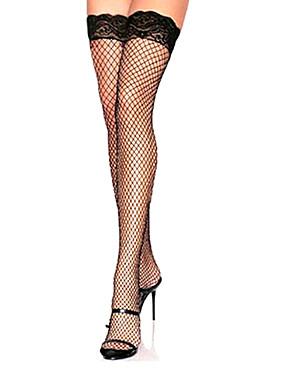 preiswerte Damenbekleidung-Damen Sexy Strümpfe - Solide Spitze Dünn Halterlose Strümpfe Fischnetz Weiß Schwarz Rot