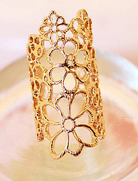 cheap Fashion Rings-Women's Statement Ring Gold Lace Alloy Ladies Unusual Unique Design Party Jewelry filigree Roses Flower Adjustable