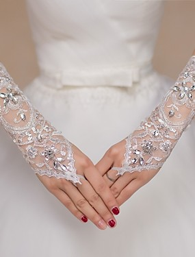 cheap Party Gloves-Lace Elbow Length Glove Bridal Gloves / Party / Evening Gloves / Flower Girl Gloves With Rhinestone / Sequin