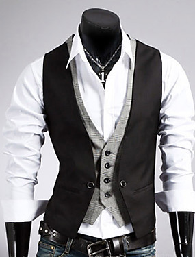cheap Weekly Deals-Men's Work Regular Vest, Solid Colored Sleeveless Cotton / Polyester Black / Brown / Business Formal / Slim
