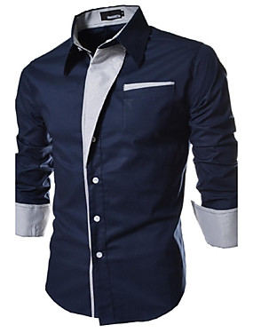 cheap Arabian Clothing-Men's Plus Size Solid Colored Basic Slim Shirt Daily Spread Collar White / Black / Navy Blue / Spring / Fall / Long Sleeve