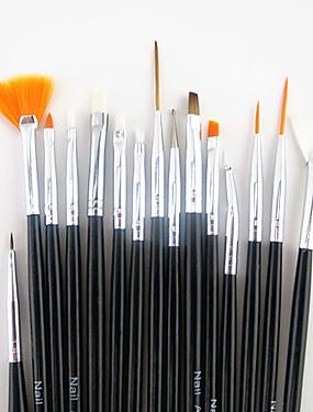 levne Štětečky na nehty-15ks černou rukojetí nail art designu natírání výkres pero štětec set&5ks 2-way tečkování marbleizing nástroje pero