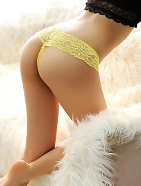 preiswerte Damenbekleidung-Damen Baumwolle / Nylon / Spitze Gitter, Solide - G-Strings & Tangas / Besonders sexy Höschen Mittlere Taillenlinie