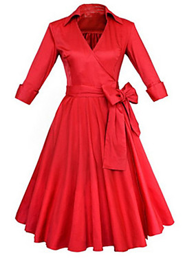 cheap UNDER $9.99-Women's Knee Length Dress A-Line Dress Solid Colored Ruffle Spring Summer V Neck Vintage Party Black Red / Cotton