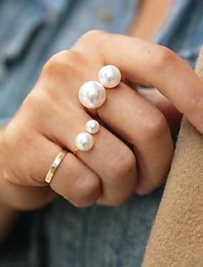 billige Fashion Rings-Dame Statement Ring tommelfingerring Perle Gull Sølv Perle Legering damer Mote Fest Smykker Billig Justerbar