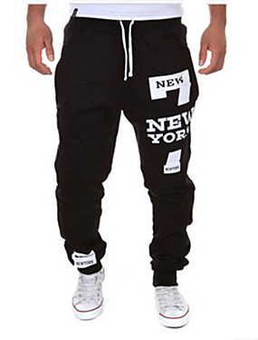 cheap Arabian Clothing-Men's Sporty / Active Sports Weekend Loose wfh Sweatpants Pants - Letter Black / Red Dark Gray Light gray XL XXL XXXL / Drawstring