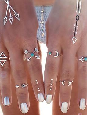 billige Fashion Rings-Dame Statement Ring Pinky Ring Turkis Sølv Gylden Turkis Legering Anker damer Personalisert Uvanlig Fest Daglig Smykker MOON Aquarius Anker