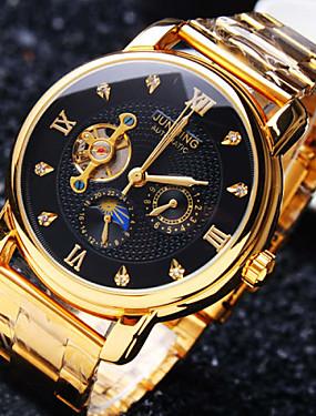 preiswerte Mode Schmuck-Herrn Uhr Mechanische Uhr Japanisch Automatikaufzug Edelstahl Unedles Metall Gold 30 m Wasserdicht Transparentes Ziffernblatt Kreativ Analog Luxus Klassisch Glanz Elegant & Luxuriös Schwarz Golden