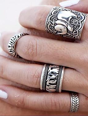 billige Fashion Rings-Dame Statement Ring Sølv Legering damer Uvanlig Asiatisk Daglig Avslappet Smykker Artisan Blomst