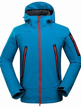 cheap Sports & Outdoors-Men's Hiking Softshell Jacket Hiking Jacket Winter Outdoor Thermal / Warm Waterproof Windproof UV Resistant Jacket Winter Jacket Top Camping / Hiking Hunting Fishing Black Orange Blue M L XL XXL XXXL
