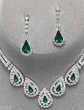 povoljno Nakit Dogovor-Žene Sapphire Kristal Citrin Komplet nakita Viseće naušnice Ogrlice s privjeskom Ispustiti dame Luksuz Zabava Elegantno Vjenčan Svaki dan Kubični Zirconia Imitacija dijamanta Naušnice Jewelry Crn
