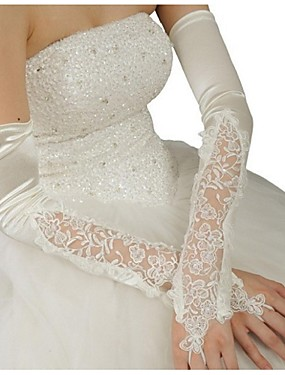cheap Party Gloves-Satin / Polyester Opera Length Glove Classical / Bridal Gloves With Solid