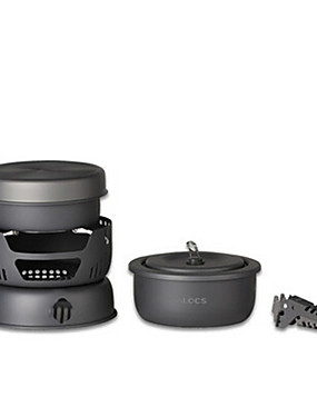 cheap Sports & Outdoors-ALOCS Camping Cookware Mess Kit Camping Pot with Pan Sets 10pcs Portable Multi-function Durable for 3 - 4 person Stainless Steel Copper Hard Alumina Outdoor Camping / Hiking Hunting Climbing