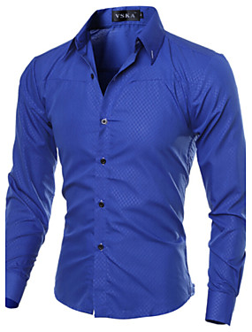 cheap Arabian Clothing-Men's Plus Size Solid Colored Basic Slim Shirt Business Daily Work Spread Collar Wine / White / Black / Navy Blue / Royal Blue / Spring / Fall / Long Sleeve