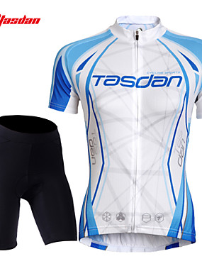 cheap Sports & Outdoors-TASDAN Women's Short Sleeve Cycling Jersey with Shorts Blue and White Solid Color Bike Shorts Jersey Padded Shorts / Chamois Breathable 3D Pad Quick Dry Reflective Strips Back Pocket Sports Solid