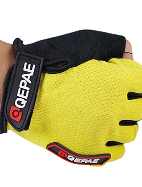 cheap Sports & Outdoors-QEPAE Bike Gloves / Cycling Gloves Mountain Bike MTB Breathable Anti-Slip Sweat-wicking Protective Fingerless Gloves Half Finger Sports Gloves Leather Lycra Terry Cloth Black Yellow Red for Adults'