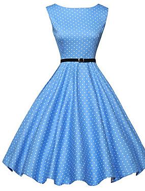 preiswerte federova-Damen Retro 50er A-Linie Kleid - Druck, Punkt Knielang