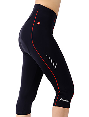 cheap Sports & Outdoors-TASDAN Women's Cycling 3/4 Tights Bike Shorts 3/4 Tights Padded Shorts / Chamois Breathable 3D Pad Quick Dry Sports Solid Color Coolmax® Silicon Black Road Bike Cycling Clothing Apparel Relaxed Fit