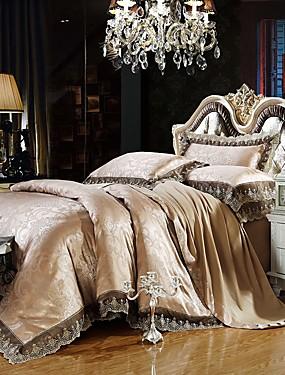 preiswerte Haus & Garten-Luxus Bettbezug-Sets Seidenbaumwollmischung Jacquard 4-teilige Bettwäschesets