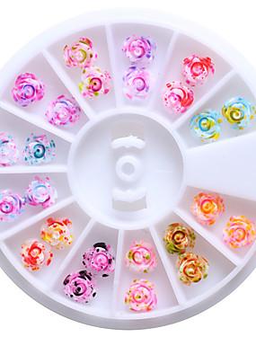 preiswerte Nagelausrüstungen & Sets-12 Farben 6mm Harz Blumen stieg 3d Nagelkunst Bolzen Spitzen funkeln DIY Rad-Blumenmuster Dekorationen für Nägel