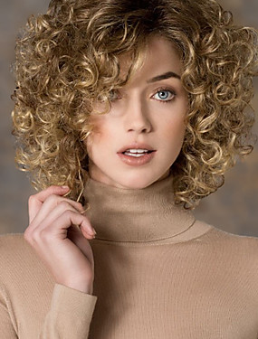 cheap Toys & Hobbies-Synthetic Wig Curly Style Side Part Wig Blonde Blonde Synthetic Hair Women's Fashion Blonde Wig Short StrongBeauty