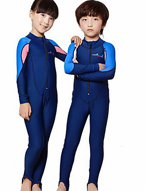 cheap Sports & Outdoors-Dive&Sail Boys' Girls' Rash Guard Dive Skin Suit Diving Suit SPF50 UV Sun Protection Quick Dry Full Body Front Zip - Swimming Diving Surfing Patchwork / Kid's