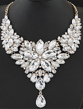 cheap Jewelry Deal-Women's Crystal Statement Necklace Bib Chunky Ladies Elegant Baroque Alloy Rainbow White Red Rose Gray 40+5 cm Necklace Jewelry 1pc For Wedding Party Anniversary Masquerade Engagement Party Prom